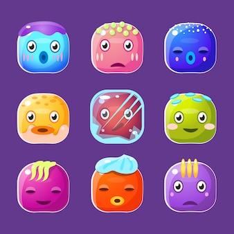 Set di facce quadrate colorate divertenti, avatar di cartone animato emotivo