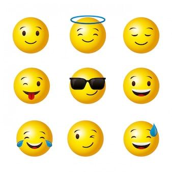 Set di facce rotonde gialle emoji