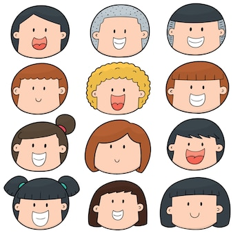 Set di faccia da cartone animato