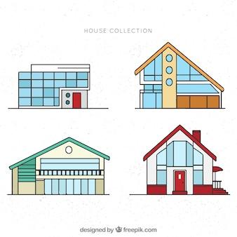 Set di facciate moderne di case in stile lineare