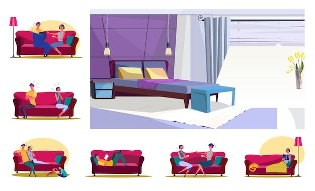 Set di famiglie o amici seduti sui divani