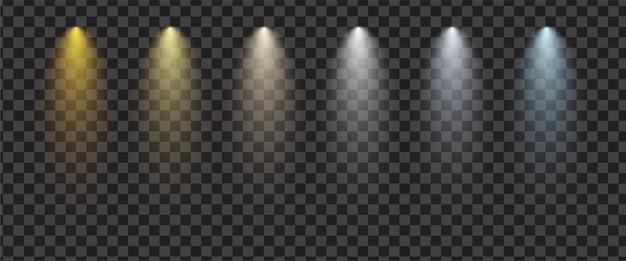 Set di faretti realistici trasparenti. effetto di illuminazione scenica.
