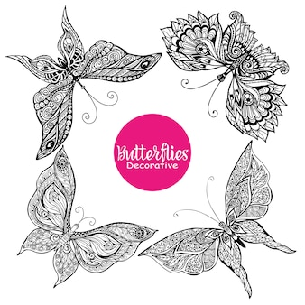 Set di farfalle decorative