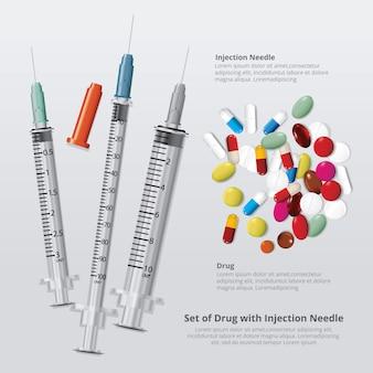 Set di farmaci con ago per iniezione realistico