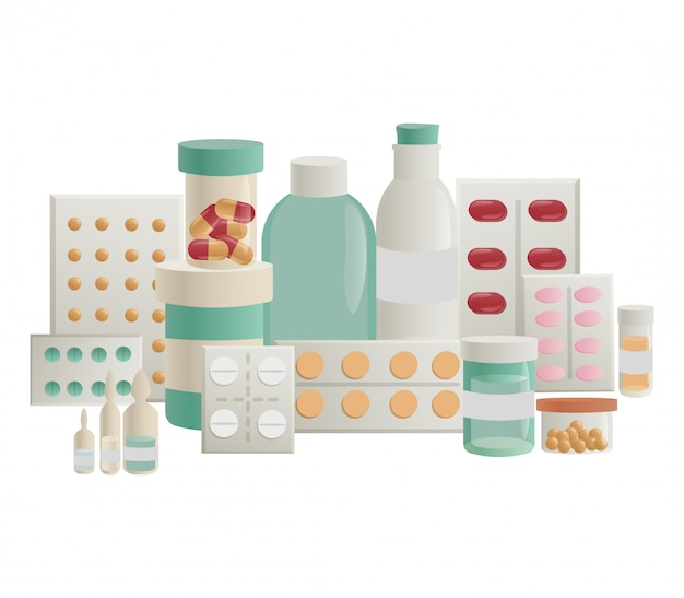 Set di farmaci, pillole, vitamina per il trattamento.