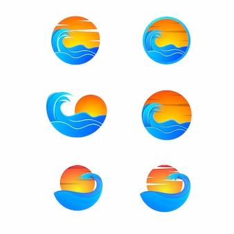 Set di fasci del tramonto dell'onda