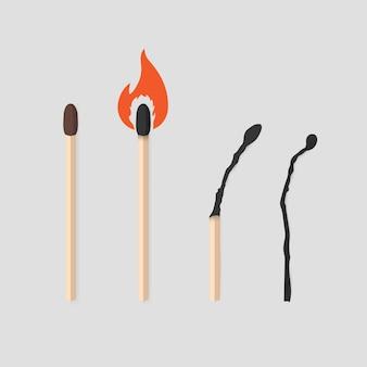 Set di fasi della partita di masterizzazione. fiammifero con zolfo, bruciante e bruciato.
