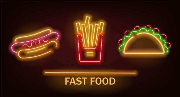 Set di fast food al neon, patatine fritte, hot dog e taco, luce al neon
