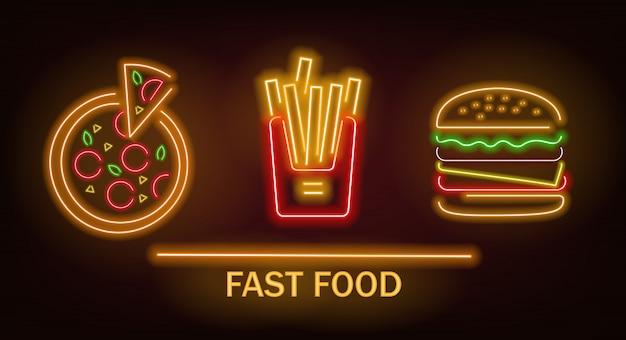 Set di fast food al neon, patatine fritte, pizza e hamburger, luce al neon