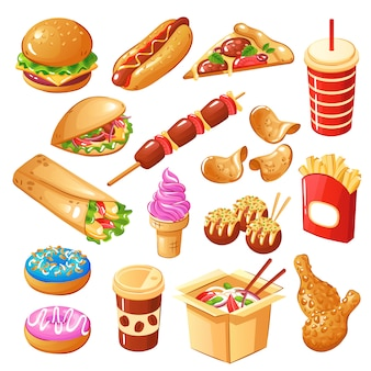 Set di fast food comprese le bevande