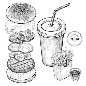 Set di fast food. grafica vintage.