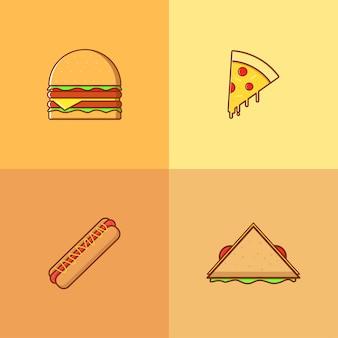 Set di fast food in stile piatto