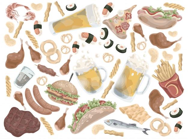 Set di fast food o cibo spazzatura.