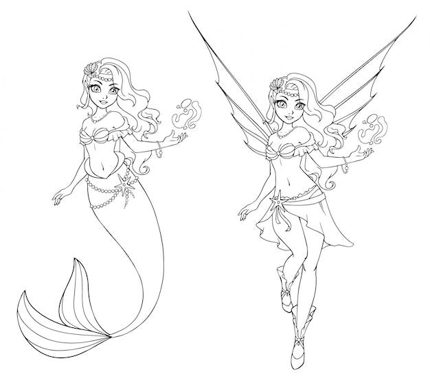 Set di fata dei cartoni animati e sirena. delineato per libro da colorare isolato su uno sfondo bianco. illustrazione di doodle disegnato a mano