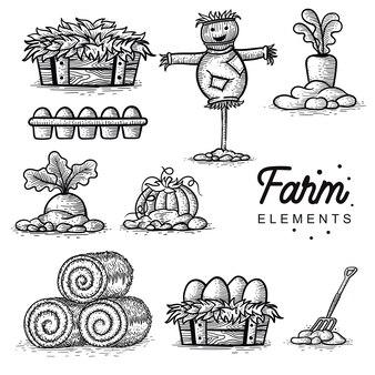 Set di fattoria elemento disegnato a mano