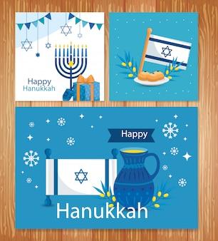 Set di felice hanukkah greeting card