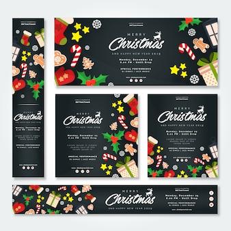 Set di festa di natale e capodanno con banner e brochure