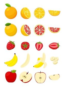 Set di fette fresche di frutta e verdura