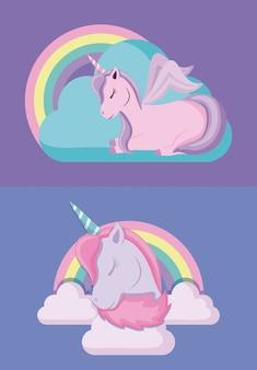 Set di fiaba di unicorni carino