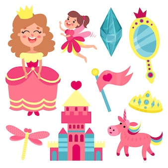 Set di fiabe, collezione con accessori per una piccola principessa o illustrazioni di fata