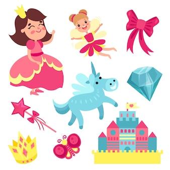 Set di fiabe, piccola principessa e fata con unicorno, castello e illustrazioni di elementi magici