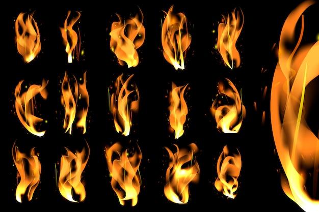 Set di fiamme accese