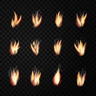 Set di fiamme di fuoco realistiche sullo sfondo trasparente per la decorazione.