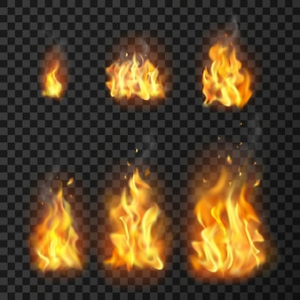Set di fiamme di fuoco realistico