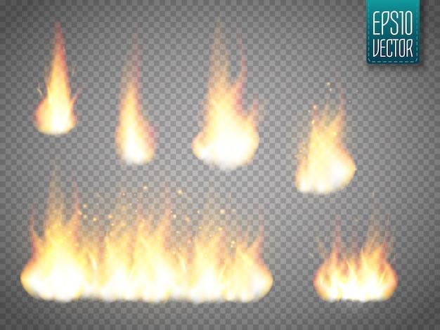 Set di fiamme di fuoco vettoriale isolato su trasparente