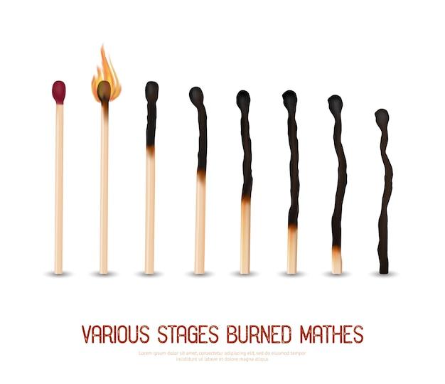 Set di fiammiferi bruciati