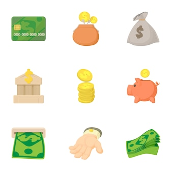 Set di finanziamento, stile cartoon