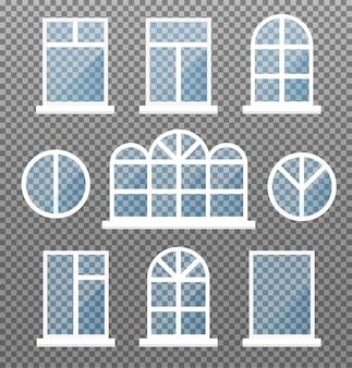 Set di finestre isolate. cornice vetrina frontale con vetri blu. elemento di facciata di edificio esterno su sfondo trasparente. illustrazione.