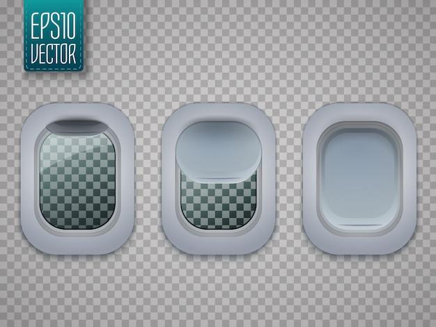 Set di finestre per aerei. oblò piani isolati su trasparente.