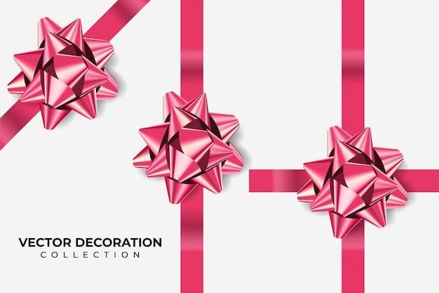 Set di fiocchi di colore rosa metallizzato con ombra su sfondo bianco isolato. decorazione realistica per le vacanze