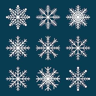 Set di fiocchi di neve bianchi