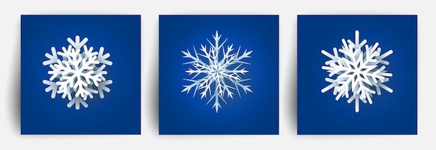 Set di fiocchi di neve di natale. elementi di carta tagliata. fiocco di neve papercut di natale. illustrazione.