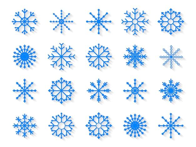 Set di fiocchi di neve isolato su sfondo bianco
