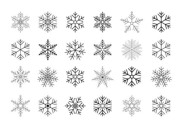 Set di fiocchi di neve neri.