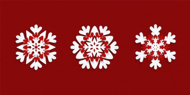 Set di fiocchi di neve tagliati di carta