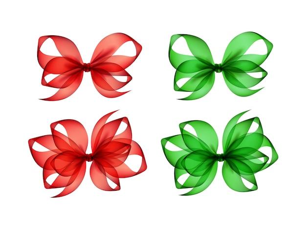 Set di fiocchi regalo rosso verde colorato su sfondo