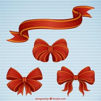 Set di fiocco rosso e nastro