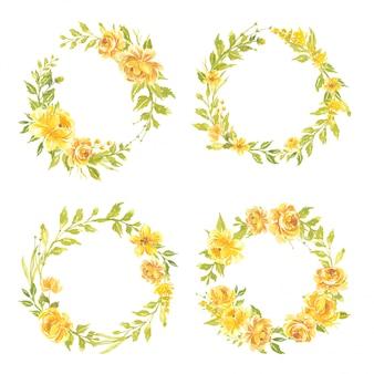Set di fiori ad acquerello illustrazione di corona floreale dipinta a mano bouquet di fiori rosa giallo