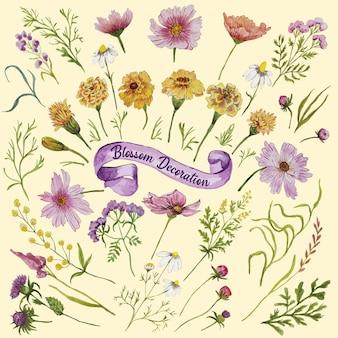 Set di fiori di decorazione di fiori