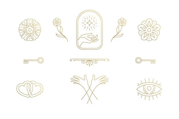 Set di fiori e gesto mani in mano disegnati
