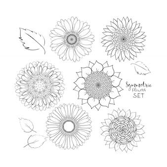 Set di fiori estivi floreali simmetrici. doodle disegnato a mano fiore. illustrazione vettoriale di contorno