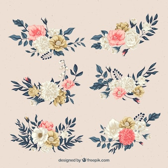 Set di fiori in stile piatto