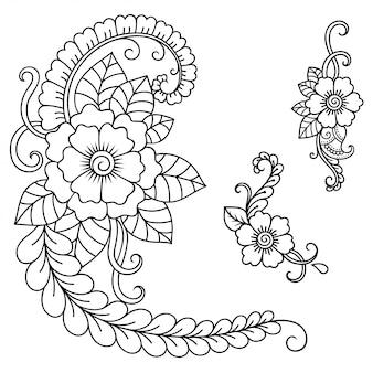 Set di fiori mehndi. decorazione in stile etnico orientale, indiano. ornamento doodle. illustrazione di tiraggio della mano di contorno.