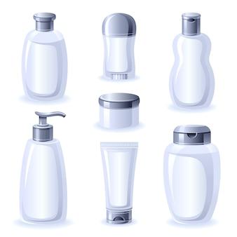Set di flaconi per la cosmetica in plastica vuota. contenitori per tubi, spray, lozioni e creme.