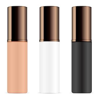 Set di flaconi per la cosmetica per primer, base, evidenziatore, profumo. modello di progettazione del pacchetto rotondo nei colori nero, bianco e marrone. vasetti con coperchi di cioccolato fondente.