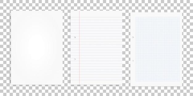 Set di fogli di carta bianca su sfondo trasparente.